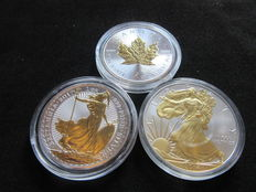 Canada, Great Britain and U.S.A. - 5 Dollars 2014, 2 Pounds 2017 and Dollar 2014 3 x 1 oz silver, partially gold-plated