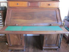 Desk with roller shutter, mahogany with walnut - around 1900