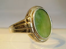 Old silver men's ring with large jade/jadeite plate, around 1935/40
