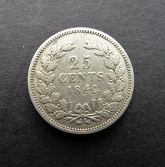The Netherlands – 25 cent 1849 (Variety with low 9) William III – Silver