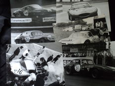 6 original photos of a Jaguar E-Type race car approx. 25 cm x 20cm