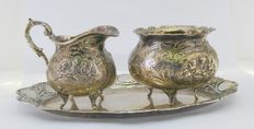 Set of tray, small jug and sugar bowl, in sterling silver