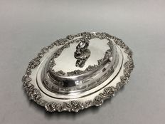 Silver plated double serving tray with detachable knob, England, ca. 1955