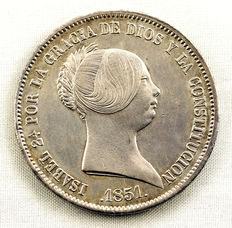 Spain – Isabel II – 20 Silver reales – 1851 – Barcelona, Madrid