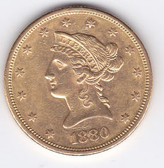 United States – 10 Dollars 1880 S 'Liberty Head Eagle' – goud
