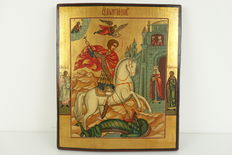 """Russian wooden icon """"George and the dragon"""" - Ca. 1900"""