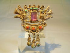 Antique Mexican wedding brooch with natural amethyst, natural turquoise and genuine corals.