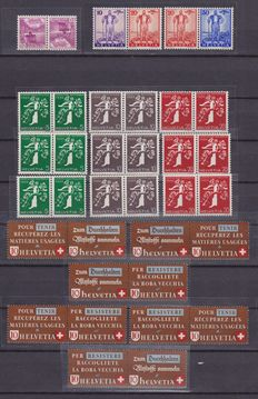 Switzerland 1930s – 33 Se-tenant and 1 tête bêche, series K and Z in complete series and loose