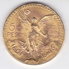 Mexico – 50 Pesos 1946 'Centennial of Independence' – gold