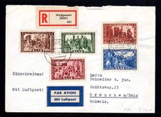 Saarland 1950 - Volkshilfe 8 F to 50 F complete on genuinely run FDC, Michel 299/303.