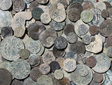 Spain – Large lot of 300 coins – Roman, Medieval, Colonial, Modern Era.