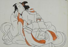 Oriental erotica; Unknown painter - Sexual Intercourse between Samurai & Geisha - ca 1920