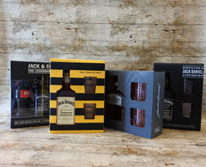 Jack Daniel's Giftboxes - JD with Coca Cola - JD Honey - Gentleman Jack - JD with glasses - 4 Boxes