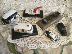 Norev - Scale 1/43 - Lot with 6 models: Citroen Type H, Peugeot 404 tow truck and van J7, Renault Juvaquatre, 4 CV police & Jeep Willis MB