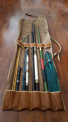 Seven vintage fishing (fly/float) rods in vintage pouch