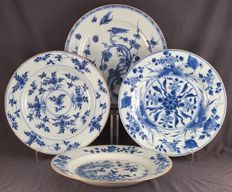 Collection of four plates with floral decorations, China, eighteenth century
