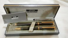 Set of Aurora pens 1 ballpoint and 1 fountain with gold Nib 18kt - with original case