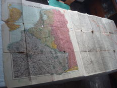 "Third Reich; Lot with 2 Old Original Territorial Maps: Velhagen & Klasing Map ""Unsere Westgrenze mit Westwall und Maginotlinie"" (Our Western Border with Siegfried Line and Maginot Line) from 1939 and ""Ravensteinkarte von Nordost-Frankreich"" (Ravenstein Ma"