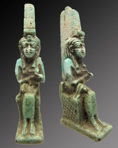 Egyptian faience amulet of Isis with Horus on her lap - 50 mm