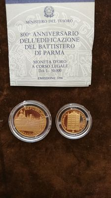 Italy, Republic – 50,000 and 100,000 lire 1996 – diptych with case – gold