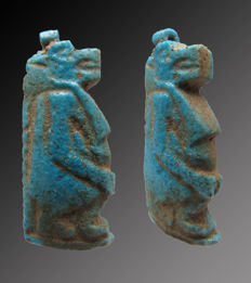 Egyptian faience Tawaret amulet - 31 mm