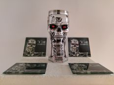 Terminator 2 Judgement Day - T-800 head goblet & 4 Terminator 2 glass coasters added