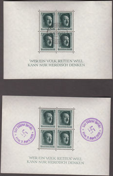 Third Reich, Germany 1937 - Lot of 5 different blocks of Hitler with different cancellations + 1945 Verderber stamps.