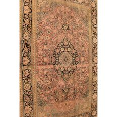 Magnificent hand-knotted silk carpet, Kashmir silk Qom, natural silk, 220 x 140 cm, made in Cashmere around 1990