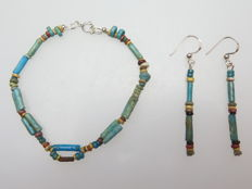 Set of Egyptian earrings and bracelet made of faience beads - 17 cm + 2x 55 mm