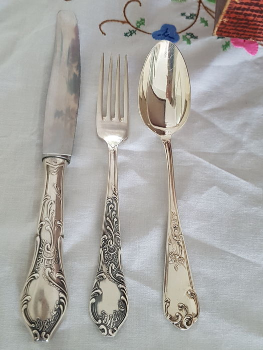 Heavy Silver Plated Cutlery Louis Xv 96 Piece Set