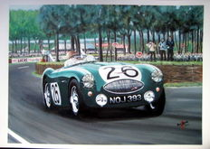 Fine Art : Austin Healey 100S – Lance Macklin at Le Mans 1955.