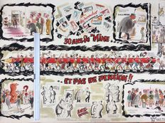 """Raymu - original drawing - Poster celebrating 30 years of the publication """"La Mine"""" - (1960)"""