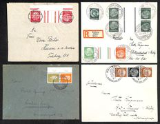 German Reich 1930-1945 - collection of stamp sheets on letters, many high value including Michel KZ18