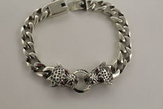 Men's 925 silver bracelet with two tiger heads facing each other - 20.5 cm