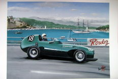 Fine Art : Stirling Moss Monaco 1957 in the Vanwall