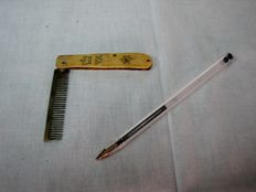Silver moustache comb with an engraved grip that belonged to D. José Lobo da Silveira Quaresma, 15th Baron and 4th Marquis of Alvito. Kingdom pair.