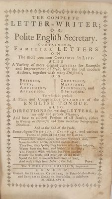 The complete letter-writer or polite English secretary - 1768
