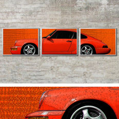 Porsche Design image in 3 aluminium frames: 964 RS 911 Cup red - 41x31cm each, total: 127x31cm