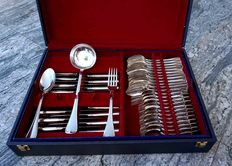 75-piece full silver cutlery set, Italy, XXth c.