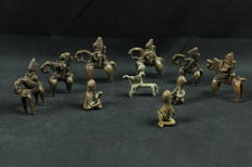 7 Putchu Guinadji Riders + 3 anthropomorphic genius figurines - SAO/SOKOTO - Chad