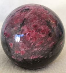 Exceptional Rhodonite sphere - deep pink/grey and black - 10 cm - 821gm