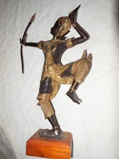 Large bronze statue / sculpture on wooden pedestal - Thailant - Age second hal of the 20th century