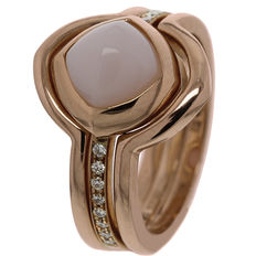 "Saddal - ""Dolce"" rose gold women's ring with diamond and rose opal - Ring size 17.25"