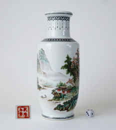 Rouleau vase with mountain landscape – China – mid 20th century