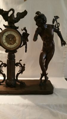 Bronze clock with nude youngster - 2nd half 20th century