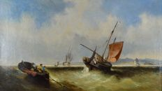 Attrib. George Callow. RA. (1825-1873) Fishing vessels in a fresh breeze off the coast.