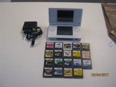 Original Nintendo DS lite incl 18 ds games and 1 3ds game. Good games like Pokemon