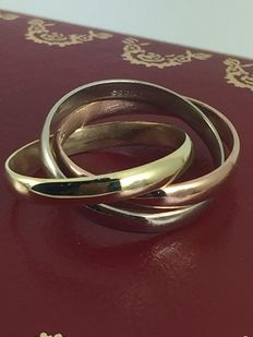 3 rings in one tricolour solid gold 14k - 52 (EU)
