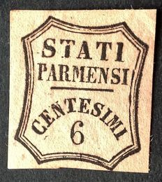 Italy, Parma, 1853 – newspaper stamp, 6 cents, bright pink. Sassone 1.