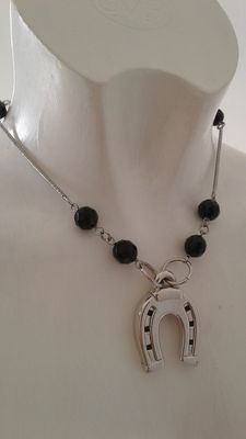 Necklace in 925 silver with onyx – 38 cm